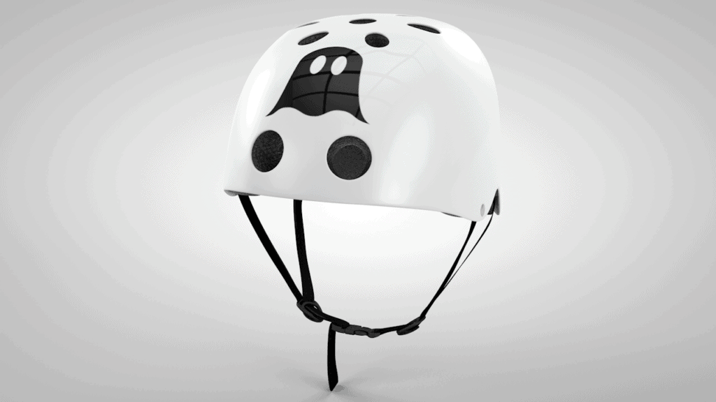 Ghost boards and helmets logo and 3d visualisation still image