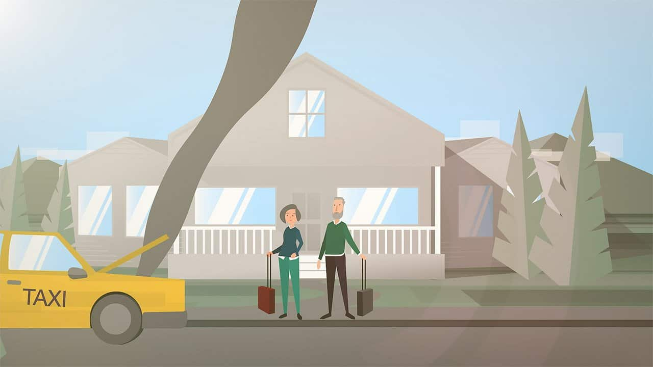 animation still of two characters waiting for taxi with suitcases, standing outside a house