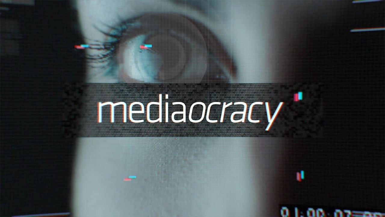 Mediaocracy hero image of an eye with graphic overlay textures