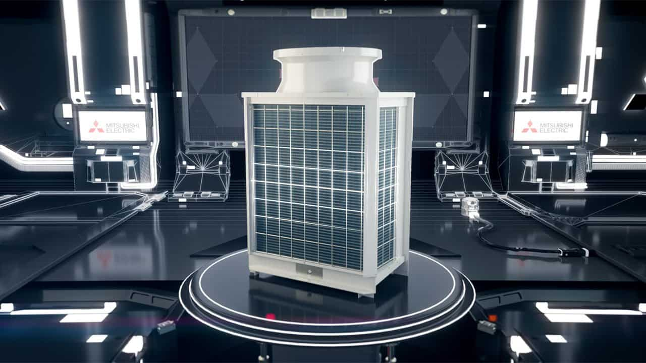 digital 3d visualisation of Mitsubishi aircon