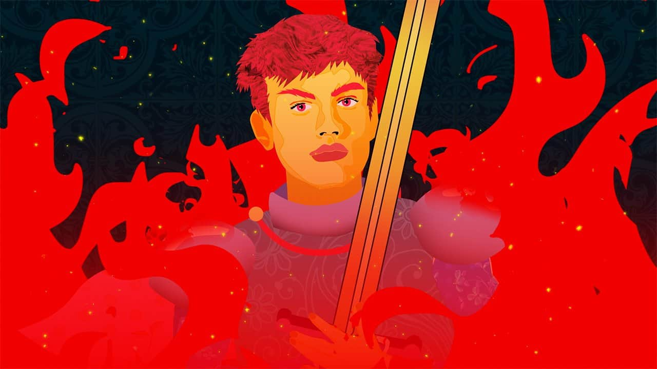 graphic showing Joan of Arc in red flames