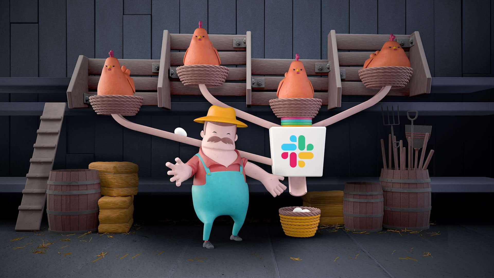 To be a small shot in larger animation about Slack services