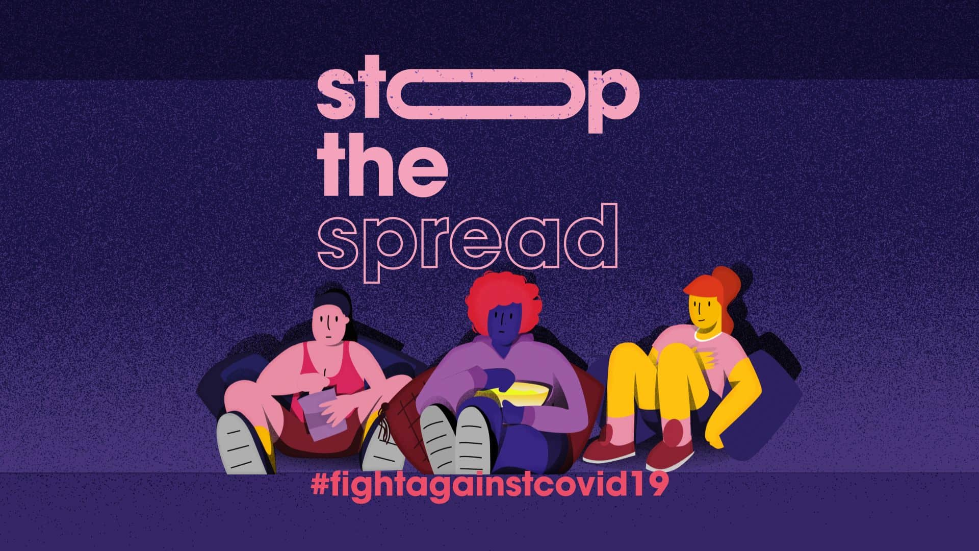 illustration with words 'stop the spread, #fightagainstcovid19' with characters eating popcorn on bean bags