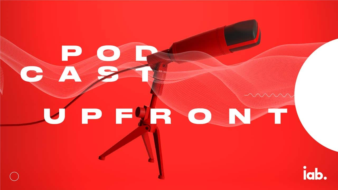 Podcast Upfront hero image of a microphone illustration