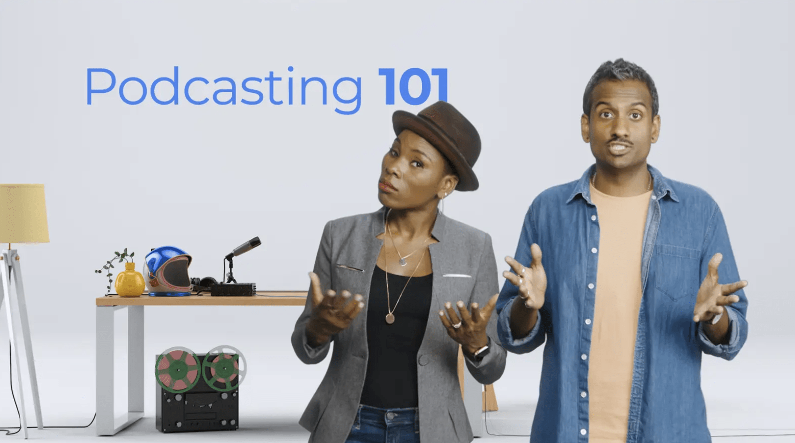 Podcasting 101 hero frame showing presenters talking